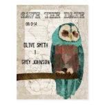Save the Date Vintage Owl II  Postcard