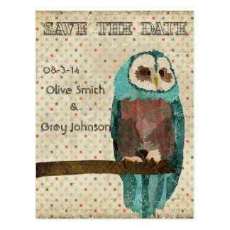 Save the Date Vintage Owl Postcard