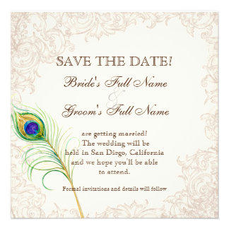 Save the Date - Vintage Peacock Etchings Personalized Invite