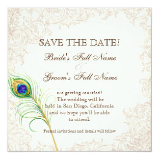 Save the Date - Vintage Peacock & Etchings Personalized Invite
