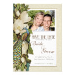 Save the Date - Vintage Peacock & Magnolia Swirls Personalized Announcement