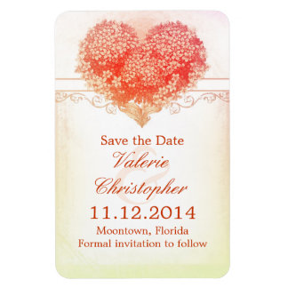 save the date vintage red love heart magnets