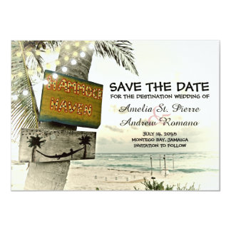 Save the Date Vintage Romantic Beach Destination Card