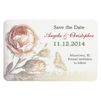 save the date vintage rose magnets