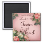 Save the Date Vintage Roses Square Magnet