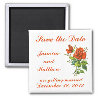 Save the Date Vintage Roses Wedding  Magnet
