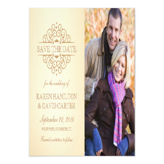 Save the Date Vintage Scrolls Engagement Photo Magnetic Invitations