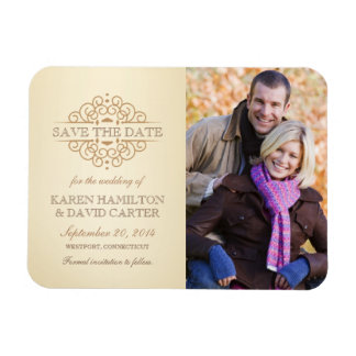 Save the Date Vintage Scrolls Photo Magnet