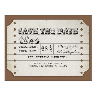 save the date vintage ticket postcards