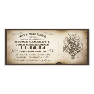 save the date vintage ticket postcards