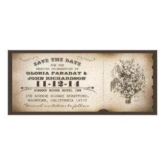 save the date vintage ticket postcards custom invite