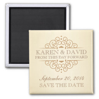 Save the Date Vintage Victorian Wedding Scrolls Square Magnet