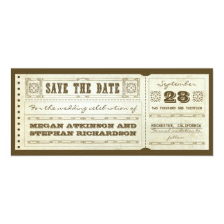 save the date vintage wedding tickets card