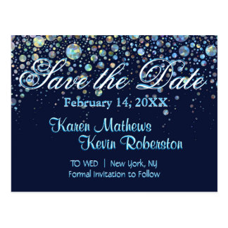 Save the Date w/ Bubble Stars Postcard