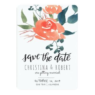 Save The Date Watercolor Floral Red Rose Card