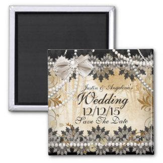 Save The Date Wedding Black Cream Beige Magnet