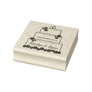 Save the Date Wedding Cake Custom Rubber Art Stamp