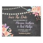 Save The Date Wedding Card Peach Flower Chalk