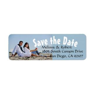Save the Date Wedding Couple Photo Return Address Label