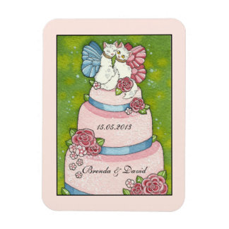 Save the Date Wedding Cute Cat Cake Topper Magnet
