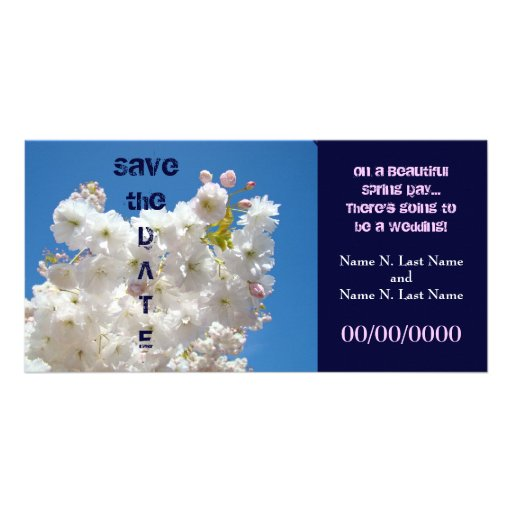 Save the Date Wedding Dates Spring Blossoms Custom Photo Card