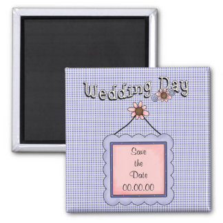 Save the Date Wedding Day Blue Magnet