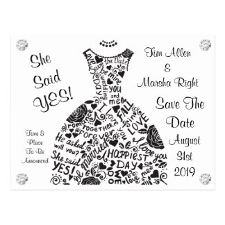 Save the Date Wedding Dress Diamond Bling Postcard