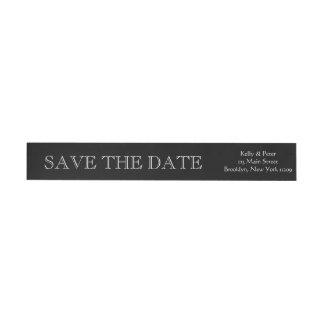 Save the Date Wedding Envelope Black and White Wraparound Return Address Label