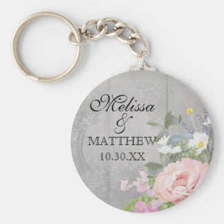 Save the Date Wedding Favors Rustic Wood Floral Key Ring