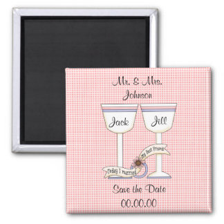 Save the Date Wedding Glasses Pink Magnet