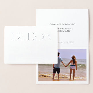 Save The Date Wedding Heart Detail Typography Foil Card