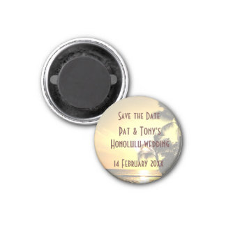 Save the Date Wedding in Hawaii 3 Cm Round Magnet