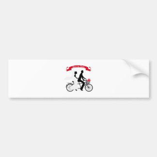 Save the date, wedding invitation tandem bicycle bumper sticker