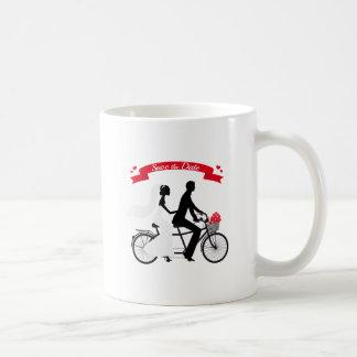 Save the date, wedding invitation tandem bicycle coffee mugs