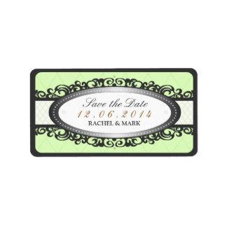 Save the Date - Wedding Label Vintage - Mint Green Address Label