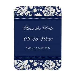 Save the Date Wedding Magnet Blue Damask