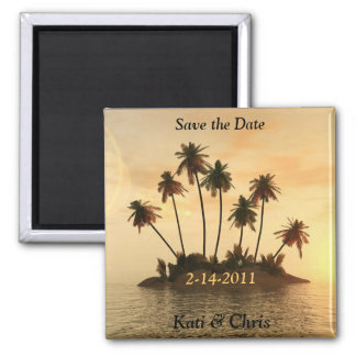 Save the date Wedding magnets Tropical beach