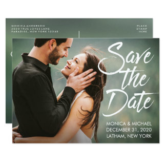 Save the Date Wedding Modern Script Photo Card