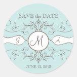 Save the Date Wedding Monogram Sickers Round Stickers