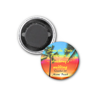 Save the Date Wedding Palm Trees 3 Cm Round Magnet