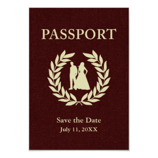 save the date wedding passport card