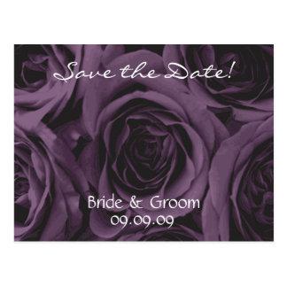Save the Date Wedding Postcard Purple roses