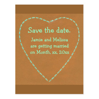 Save the date wedding postcards, Turquoise Heart Postcard
