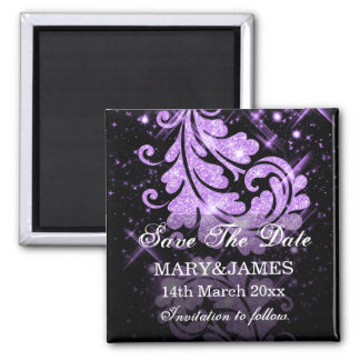 Save The Date Wedding Purple Glitter Floral Swirls Square Magnet