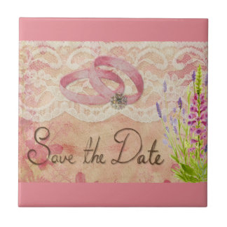 SAVE THE DATE WEDDING ROMANTIC PINKS ANNIVERSARY M SMALL SQUARE TILE