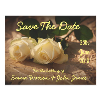 Save The Date Wedding Roses Custom Postcard