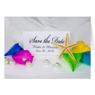 Save the Date-wedding starfish and pearls Card