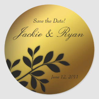 Save the Date Wedding sticker gold leaves