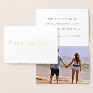 Save The Date Wedding Typography With Heart Detail Foil Card