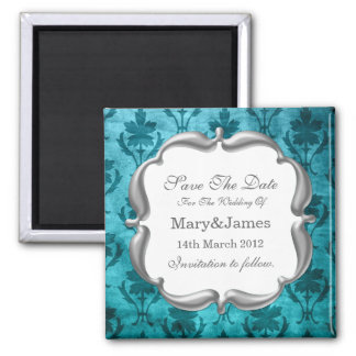 Save The Date Wedding Vintage Floral Pattern Blue Square Magnet